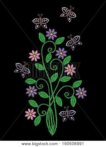 Embroidery stitches imitation floral pattern with folk flower and butterfly. Fashion embroidery on black background. Embroidery flower vector.