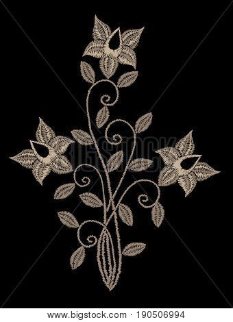 Embroidery stitches imitation floral pattern with vintage flower. Fashion embroidery on black background. Embroidery flower vector.