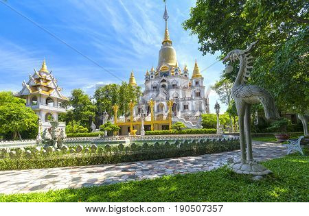 Ho Chi Minh city, Vietnam - June 1st, 2017: Buu Long Pagoda with nice architecture. A peacefull place to calm your mind and soul in Ho Chi Minh city, Vietnam