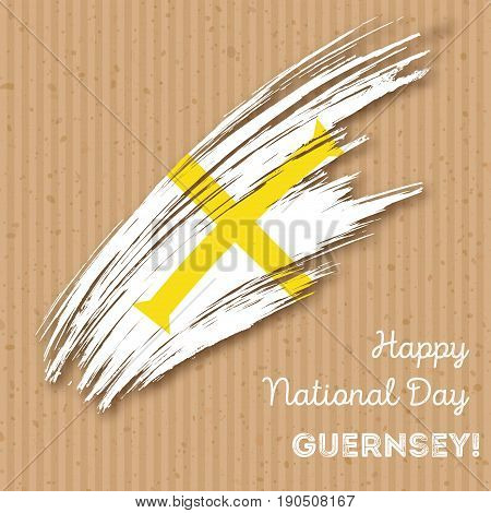 Guernsey Independence Day Patriotic Design. Expressive Brush Stroke In National Flag Colors On Kraft