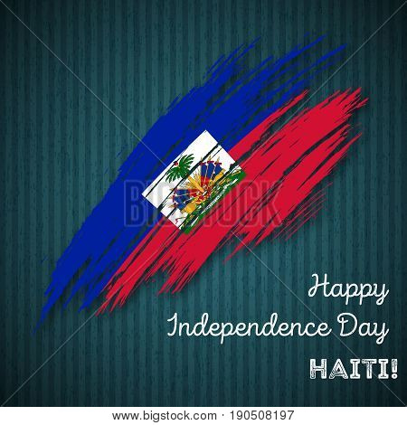 Haiti Independence Day Patriotic Design. Expressive Brush Stroke In National Flag Colors On Dark Str