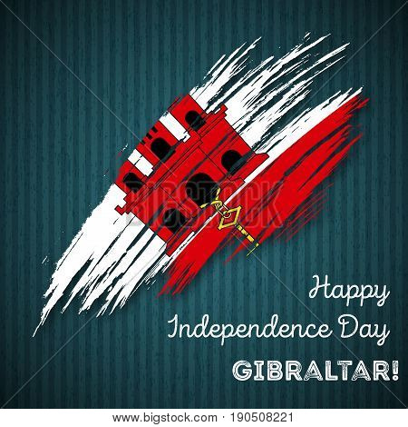 Gibraltar Independence Day Patriotic Design. Expressive Brush Stroke In National Flag Colors On Dark