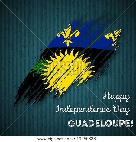 Guadeloupe Independence Day Patriotic Design. Expressive Brush Stroke In National Flag Colors On Dar