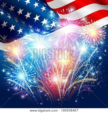 American flag with colored fireworks on Independence Day. Vector illustration