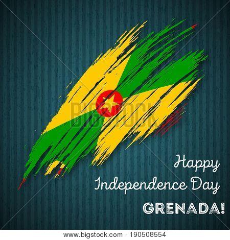 Grenada Independence Day Patriotic Design. Expressive Brush Stroke In National Flag Colors On Dark S