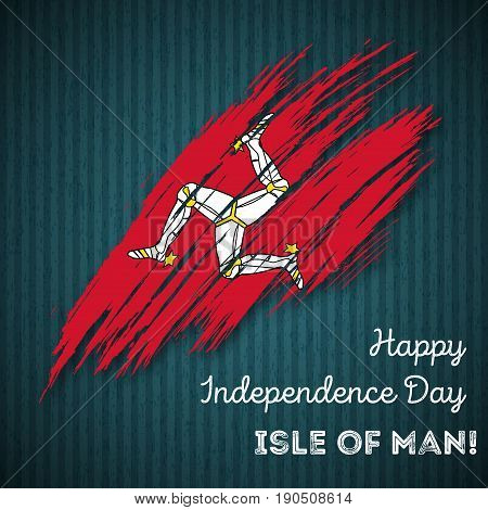 Isle Of Man Independence Day Patriotic Design. Expressive Brush Stroke In National Flag Colors On Da