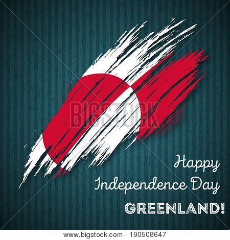 Greenland Independence Day Patriotic Design. Expressive Brush Stroke In National Flag Colors On Dark