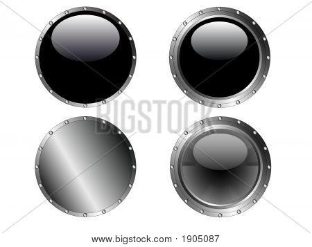4 Szegecses fekete gomb