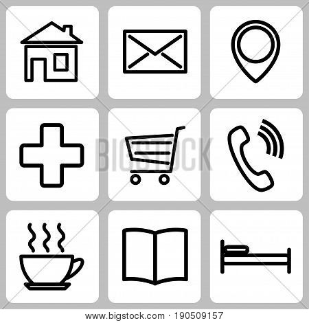 Set of icons for the card. Vector illustration.