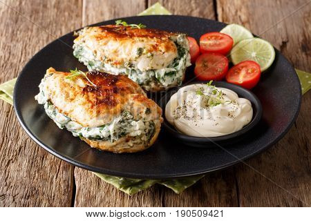 Baked Chicken Breast Stuffed With Cheese And Spinach, Close-up. Horizontal