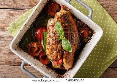 Balsamic Chicken Breast Stuffed With Mozzarella, Basil And Tomatoes Close Up. Horizontal Top View