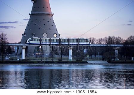 City land transport. Monorail rides near Ostankino pond and Ostankino television center. Moscow, Russia.