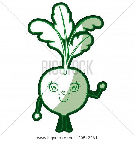 green silhouette of cartoon beet with stem and leaves with half shadow vector illustration