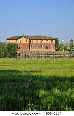 Milan (Lombardy Italy): old building in the park known as Parco Nord in the springtime