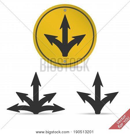 Many ways arrow road icon vector illustration