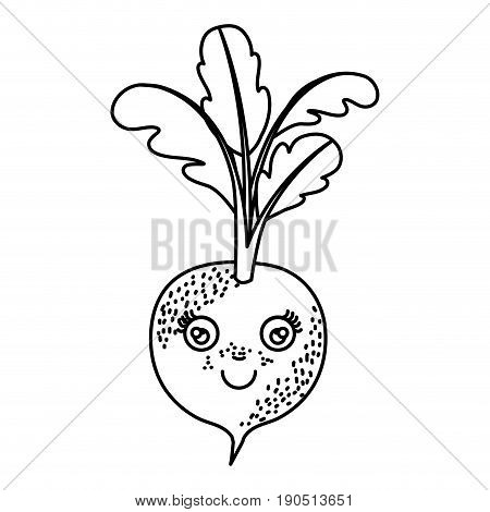 monochrome silhouette cartoon of beet with freckles with stem and leaves vector illustration
