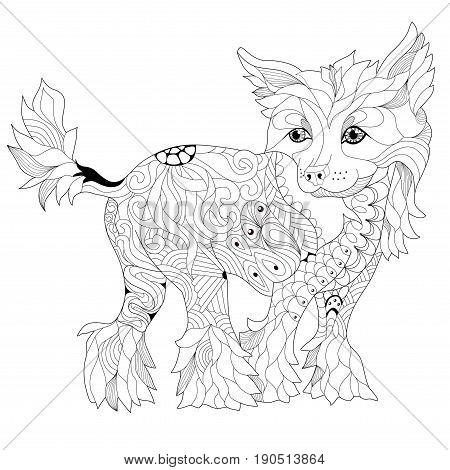 dog zentangle styled with clean lines for coloring book for anti stress T - shirt design tattoo and other decorations