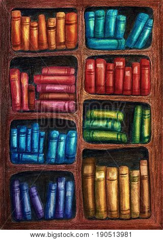 Children illustration of rainbow bookshelves