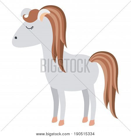 light colors of cartoon female horse with mane and tail striped vector illustration