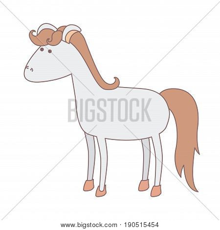 light colors of cartoon female horse gray with mane and tail light brown vector illustration