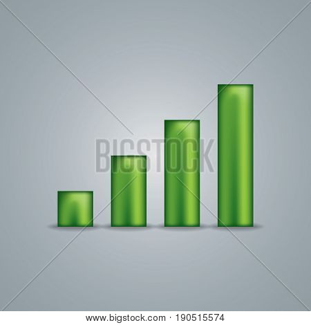 Wireless Network Symbol Object green colored consisting of four elements sign vector illustration