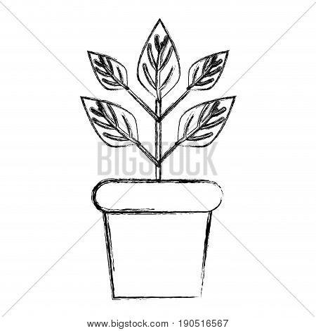 figure plant inside flowerpot to ecology preservation vector illustration