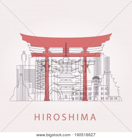 Outline Hiroshima skyline with landmarks. Vector illustration. Business travel and tourism concept with historic buildings. Image for presentation banner placard and web site.