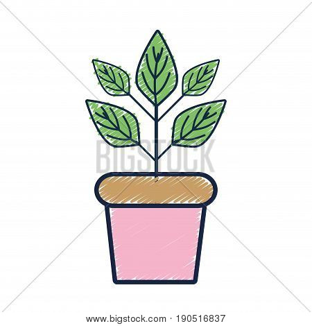 plant inside flowerpot to ecology preservation vector illustration
