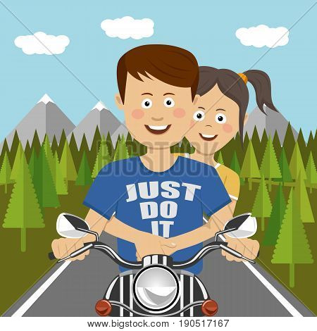 Teenager couple riding a motocycle outdoor. Flat illustration design