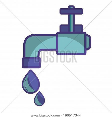 faucet with drop of water to ecology conservation vector illustration