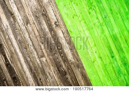 Old wood background with natural and green colour