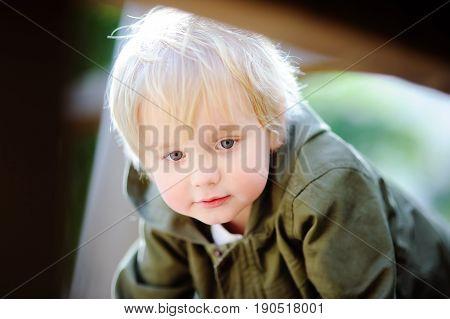 Portrait Of Cute Little Boy On Playground