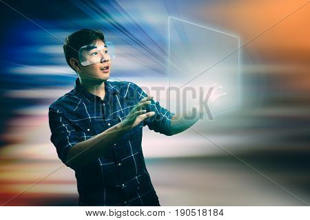 Young man with vr Virtual reality, Technology concept