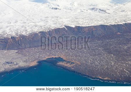 Top view Iceland nautral seacoast winter season natural landscape background