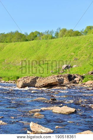View of the river Tosna at ssunny summer day Leningrad Region Russia.