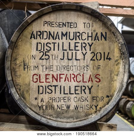 GLENBEG, ARDNAMURCHAN - SCOTLAND - MAY 26 2017 : Ardnamurchan distillery is producing whisky since 2014 and actually expanding their warehouses in Glenbeg