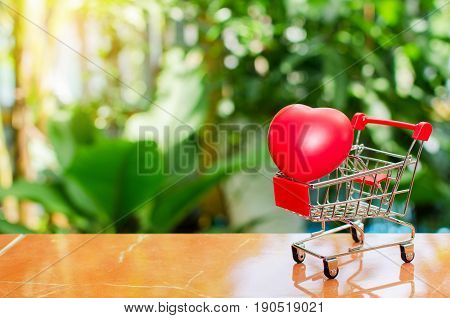 mini supermarket shopping cart with red heart for love on blurred green nature background Valentine's Day concept selective focus copy space