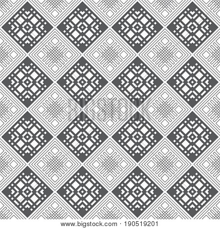 Vector seamless pattern. Modern continuously repeating geometrical texture with regular repetition rhombus diamond tiles. Infinite ornament. Contemporary design