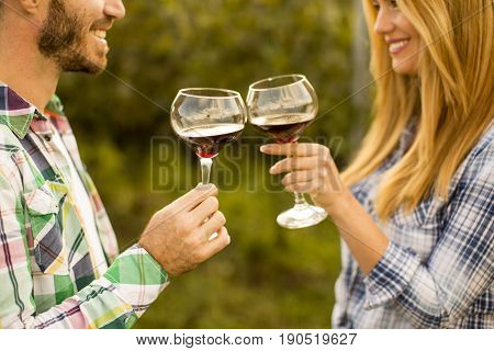 Young Couple With Glasses Of Red Wine In The Vineyard