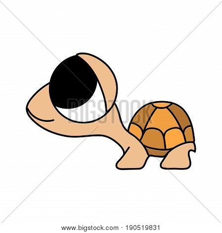 Baby animal. Childish cartoon style funny and cute smiling little brown tortoise with big eyes isolated on white background. Small turtle. Colorful illustration with thin black outline.