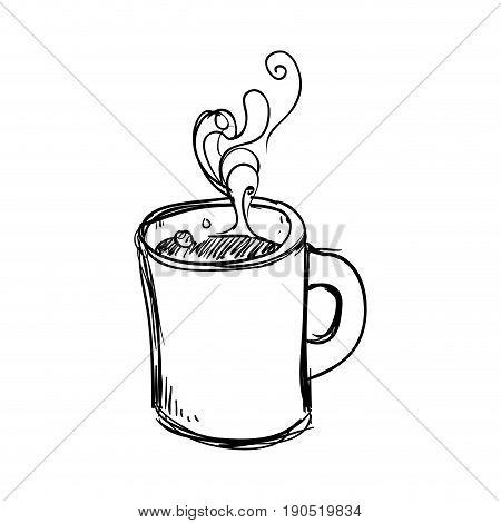 Delicious coffee cup doodle icon vector illustration graphic design