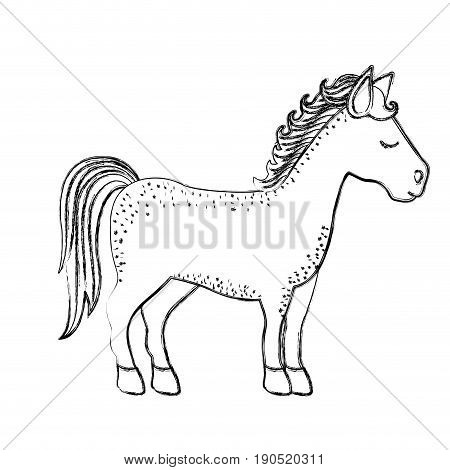 monochrome blurred silhouette of cartoon unicorn standing with closed eyes and looking towards the right vector illustration