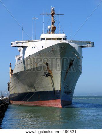 Cargo Ship Docked At The Embarcadero