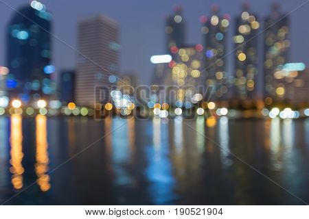 Reflection light blurred bokeh Office building abstract background