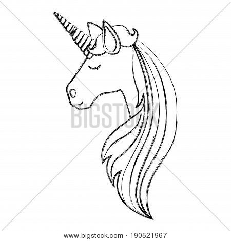 monochrome blurred silhouette of face side view of female unicorn and long striped mane vector illustration