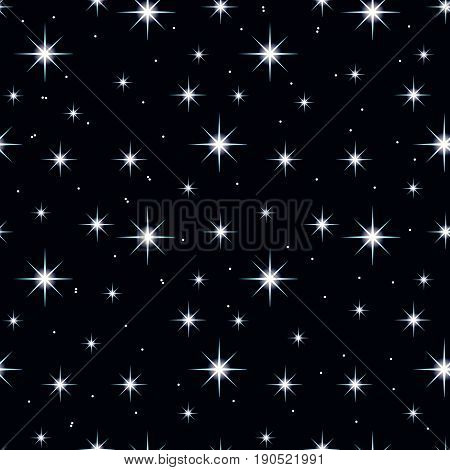 Celestial seamless background with multiple sparkling stars glittering on dark blue sky in the night.