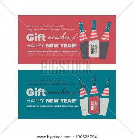 Gift voucher design Happy New Year 2018