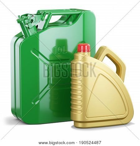 Group Of Jerry Can And Plastic Motor Oil Canister