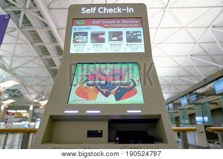 SEOUL, SOUTH KOREA - CIRCA MAY, 2017: self check-in kiosk at Incheon International Airport.