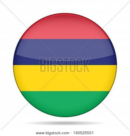 National flag of Mauritius. Shiny round button with shadow.